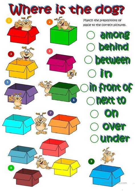 where s the prepositions of place worksheet free 671 | wheres the dog prepositions of place fun activities games 19790 1