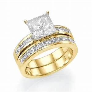 23 ct princess cut diamond bridal ring set 14k gold couplez With yellow gold wedding rings sets