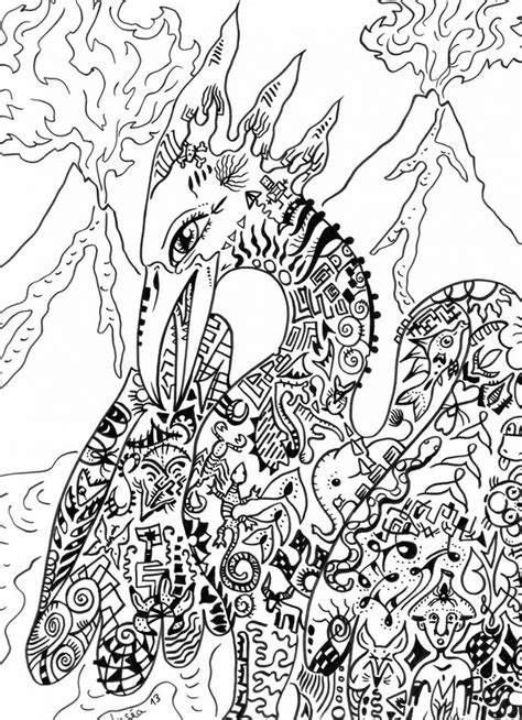 Art Therapy coloring page Fantastic animals : Phoenix 1