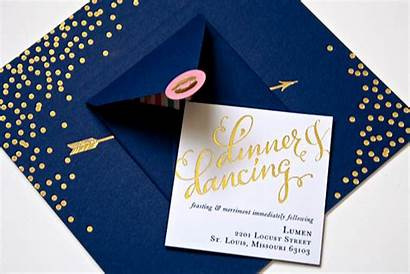 Navy Invitations Gold Foil Pink Calligraphy Stamped