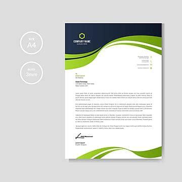 business wave letterhead template vector
