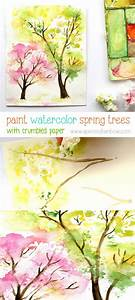 Spring Trees Watercolor Painting with Crumbled Paper