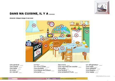 vocabulaire anglais cuisine dans ma cuisine il y a fiche d 39 exercices fiches