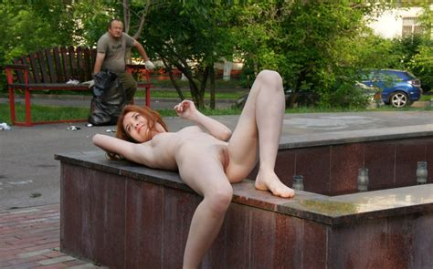 Redhead Russian Teen Posing Naked At Public Place