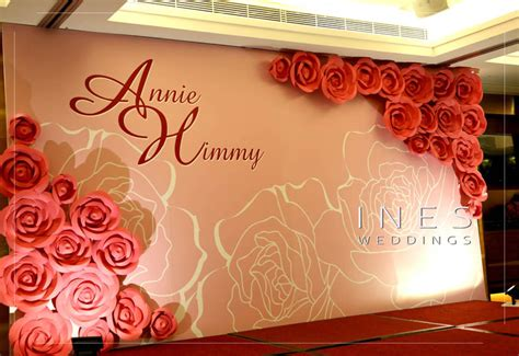 red rose paper flower wedding backdrop design  fook yuen