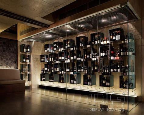 wd high  wine store glass wall display rack
