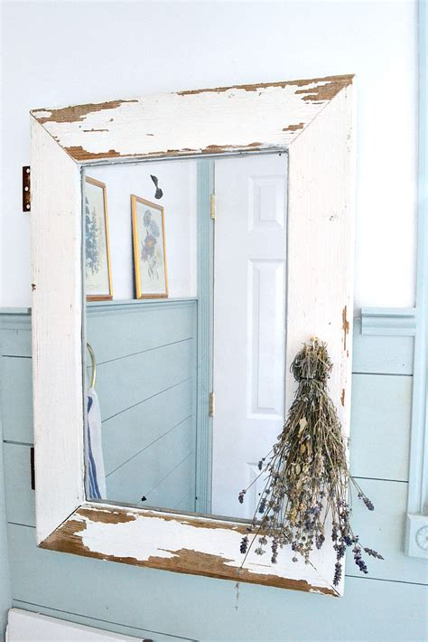 bathroom powder room ideas salvaged window turned farmhouse mirror the weathered fox
