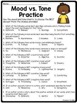 mood  tone practice set  middle school ela test prep