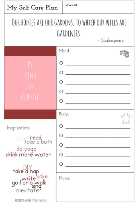 Self Care Plan Template by Plan It Health Section Part I Self Care With Free