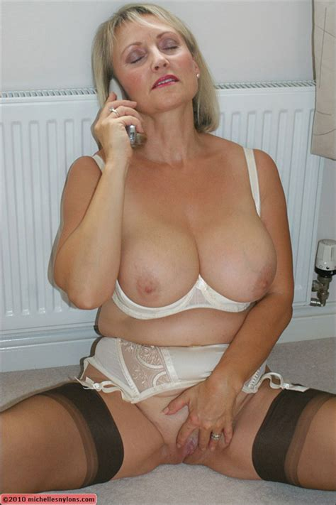 Busty Mom In White Underwear Masturbating While Talking On
