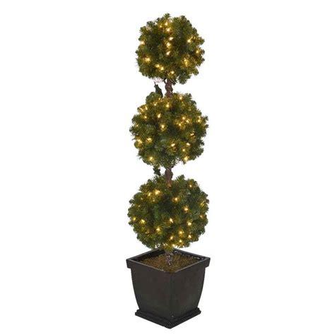 Holiday Living 4ft Prelit Triple Ball Topiary Slim