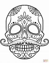 Coloring Skull Sugar Pages Mustache Printable Drawing Paper sketch template