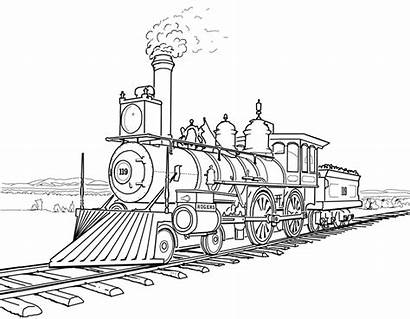 Steam Train Coloring Pages Drawing Locomotive Colouring