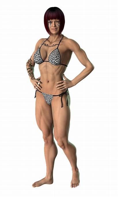 Woman Femme Tube Transparent Muscles Building