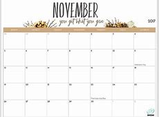 November 2017 Calendar Cute calendar template excel
