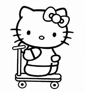 Hello Kitty on Scooter Coloring Pages | Coloring