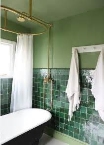 green tile bathroom ideas contemporary bathroom with green wall and green tiles white tub and white curtain dweef