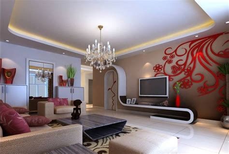 exotic white red living room decorating idea