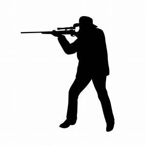 HUNTING SILHOUETTE Decals (Decor) Man Shooting a Gun ...
