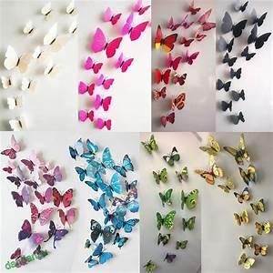 Cute DIY 3D Butterfly Wall Stickers Decals Wall Sticker ...