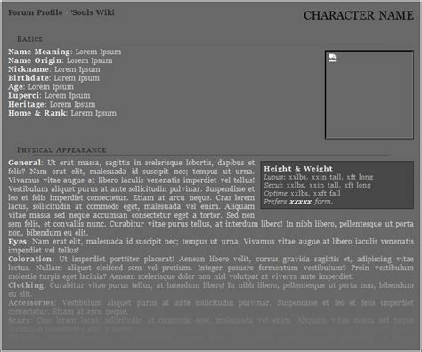 roleplay character sheet templates forum roleplay