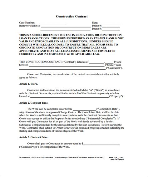 construction contract template  basic