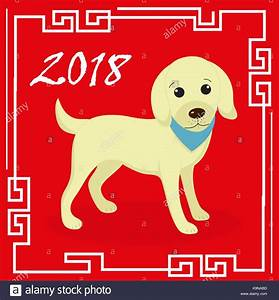 Happy chinese new year 2018 greeting card with a dog