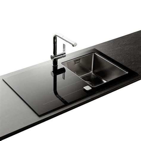 evier cuisine taille évier inox lisse et verre noir apell 1 bac avec