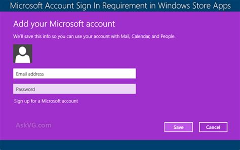 tip disable microsoft account sign in requirement in