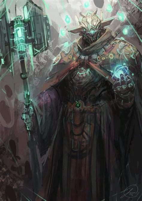 robot mage space knight fantasy character design