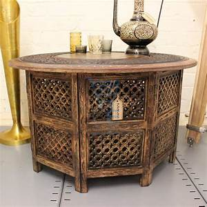 Large round coffee table brown solid wooden hand carved for Cheap round wood coffee table