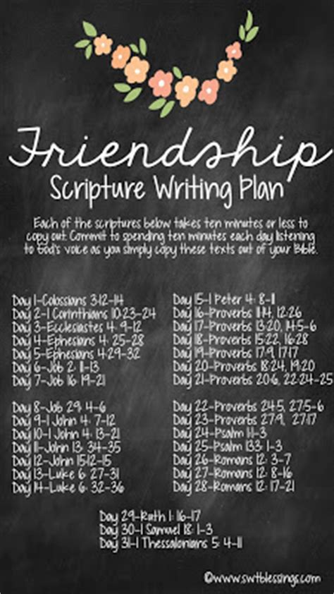 sweet blessings  scripture writing plan friendship