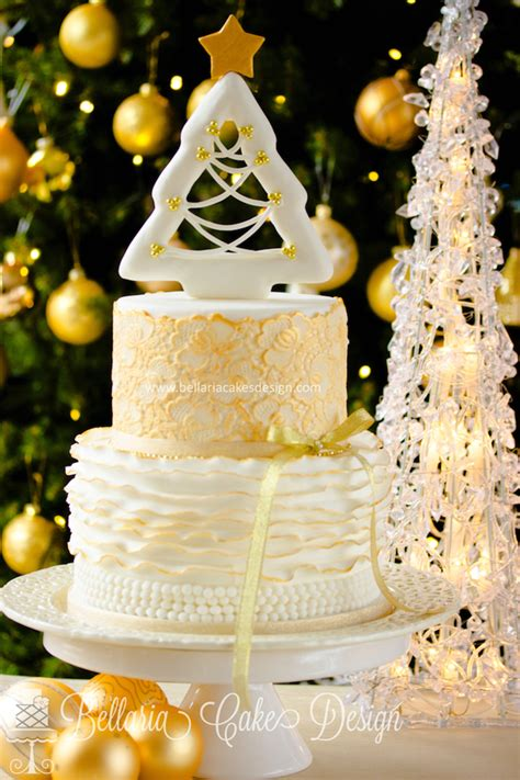 white  gold christmas cake cakecentralcom