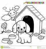 Dog Coloring Outside Doghouse Outline Standing sketch template