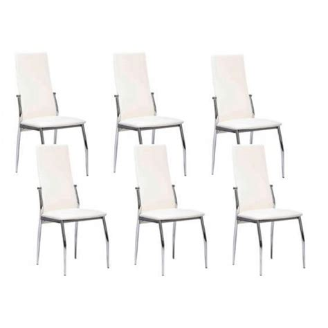 lot 6 chaises pas cher city lot 6 chaises blanches achat vente chaise salle a