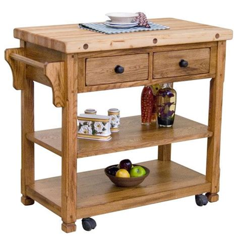 Rustic Oak Butcher Block Kitchen Island Cart, Oak Kitchen