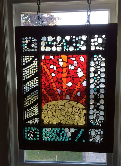 diy stained glass mosaic    salvaged window