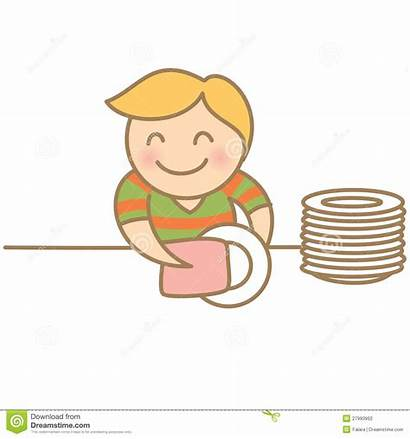Dishes Clipart Drying Boy Table Washing Child
