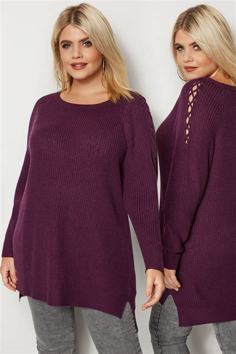 Fioletowy Sweter Z Ażurowymi Rękawami,duże Rozmiary 4464
