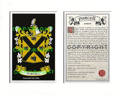 heraldic mounts purcell family crest  history