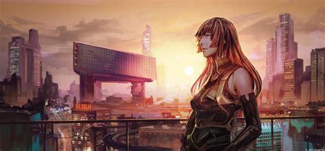 Cityscape Anime Girl Futuristic