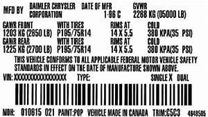 Tire Pressure Chart 2001 Dodge Ram Truck Ram 1500 1 2 Ton 2wd 3 9l Fi Ohv 6cyl