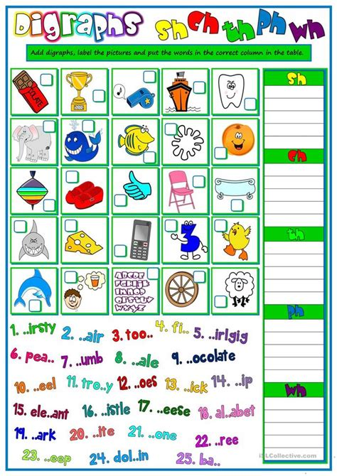 digraphs sh ch  ph wh worksheet  esl