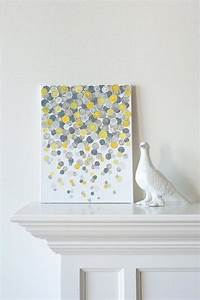 Canvas painting confetti yellow grey by luluanddrew
