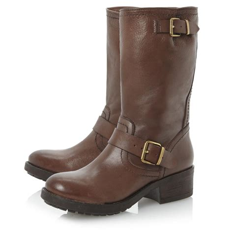 womens brown biker boots bertie ladies rosamund womens brown leather cleated sole