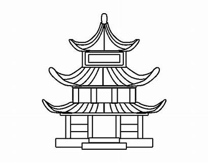 Japanese Traditional Chinese Coloring Drawing Building Buildings