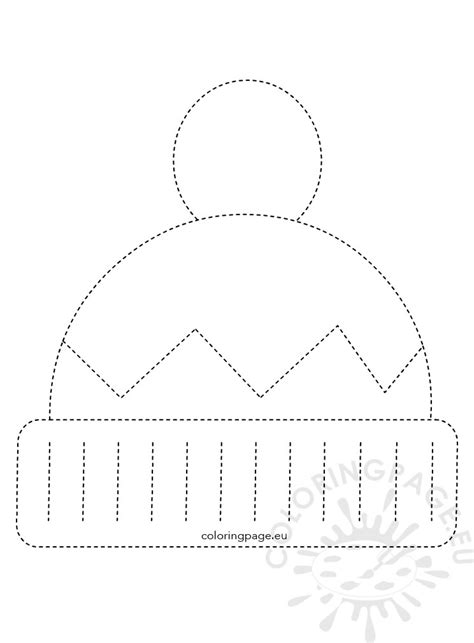winter hat tracing worksheet  kids coloring page