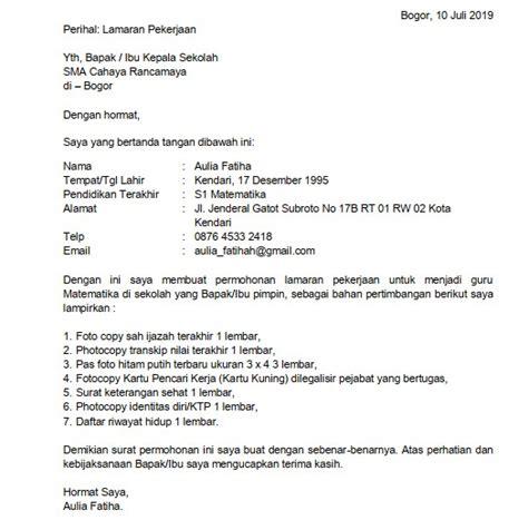 Contoh Kepala Surat Lamaran Kerja by 5 Contoh Surat Lamaran Kerja Guru Sma Doc Pdf