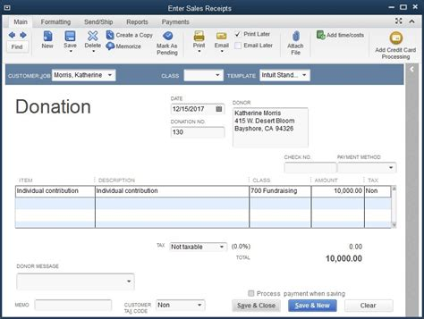 donation receipt template quickbooks quickbooks premier nonprofit 2014 1 user for windows