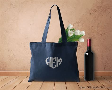 blue embroidered monogram large canvas fabric tote bag long handle cotton foldable reusable eco